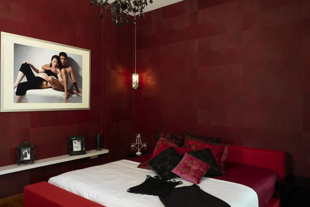 Coronation Road West, Space Vision Design, Traditional, Bedroom, Landed, Master Bedroom, Lighting, Red, Black, Display Table, Tile, Tiles, Chandelier, Paquet, Human, People, Person
