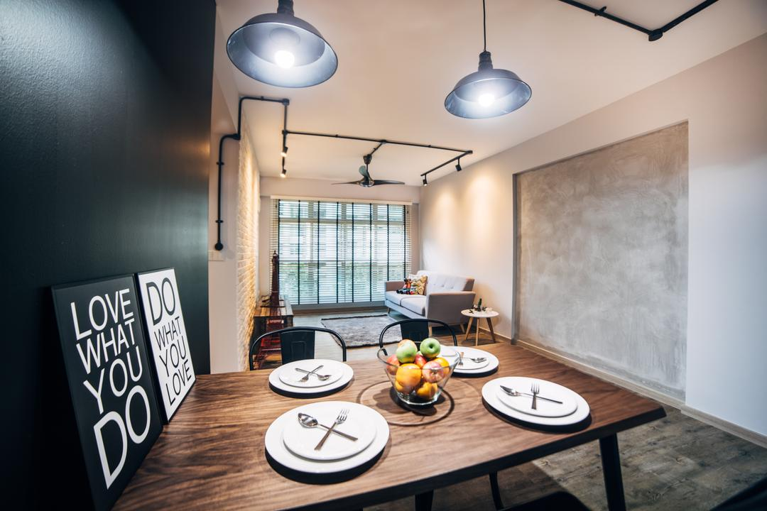 Woodlands (Block 886C), Urban Habitat Design, Industrial, Dining Room, HDB, Dining Table, Dining Chairs, Tolix Chairs, Pendant Lamp, Hanging Lamp, Industrial Style Lamp, Painting, Grey Wall, Cement, Indoors, Interior Design, Room, Lighting, Breakfast, Food, Meal, Coffee Table, Furniture, Table