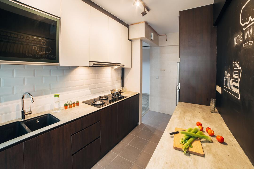 Woodlands (Block 886C), Urban Habitat Design, Industrial, Kitchen, HDB, Kitchen Cabinet, Cabinetry, Black And White, Monochrome, Subway Tiles, Black And White Cabinet, Kitchen Sink, Indoors, Interior Design, Room