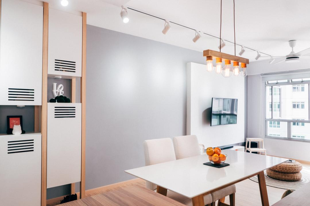 Chai Chee (Block 808C), Urban Habitat Design, Scandinavian, Dining Room, HDB, White Furniture, Dining Chair, Cabinet, Cabinetry, White And Wood, Grey Wall, Light Grey Wall, Pendant Lamp, Hanging Lamp, Shelf, Indoors, Interior Design, Room, Building, Housing, Loft, Dining Table, Furniture, Table