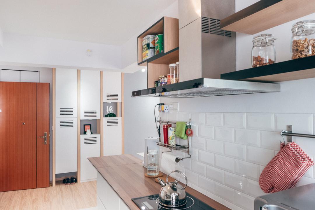 Chai Chee (Block 808C), Urban Habitat Design, Scandinavian, Kitchen, HDB, Subway Tiles, White Subway Tiles, Kompacplus, Kitchen Rack, Exhaust Hood, Door, Kitchen Shelf, Shelves, Utensils Rack, Shelf, Indoors, Interior Design, Room