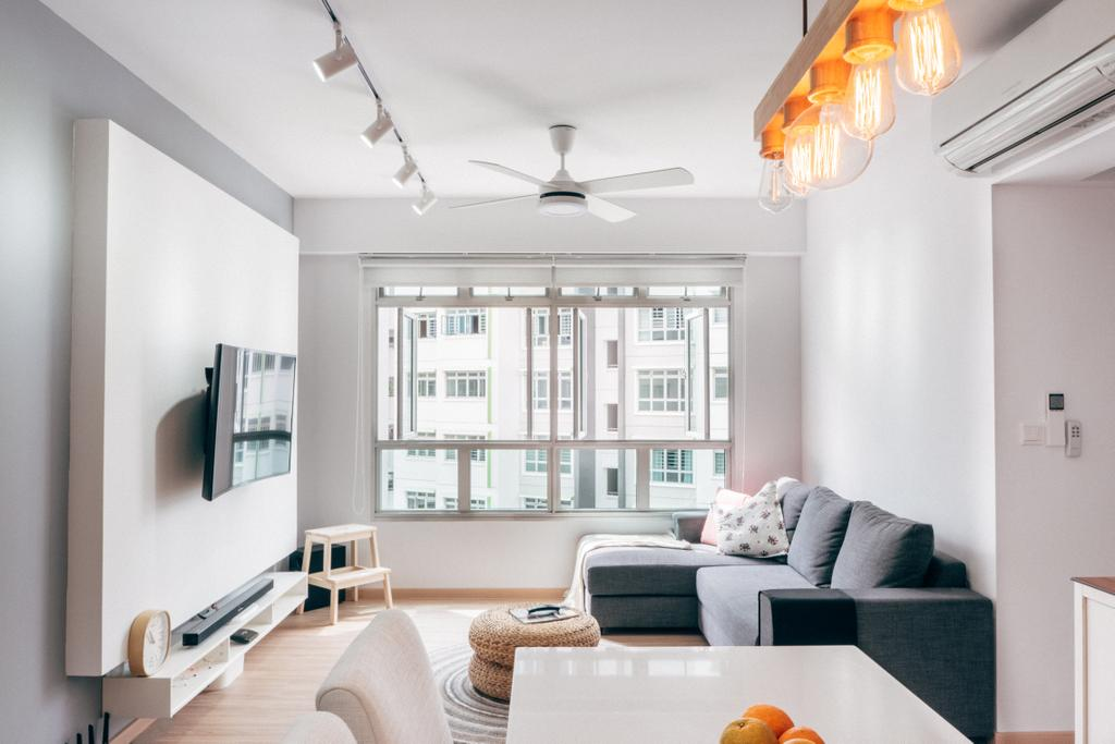 Scandinavian, HDB, Living Room, Chai Chee (Block 808C), Interior Designer, Urban Habitat Design, White, All White, Bright, Bright And Airy, L Shaped Sofa, Fabric Sofa, Sectionals, Grey Sofa, Ceiling Fan, White Ceiling Fan, Feature Wall, Track Lighting, White Track Lighting, Window, Natural Light, Clean, Clean Cut, Pouf, Couch, Furniture, Indoors, Room