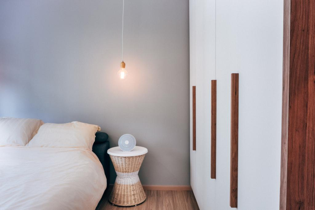Scandinavian, HDB, Bedroom, Chai Chee (Block 808C), Interior Designer, Urban Habitat Design, Bedside Table, Cabinet, Cabinetry, Wardrobe