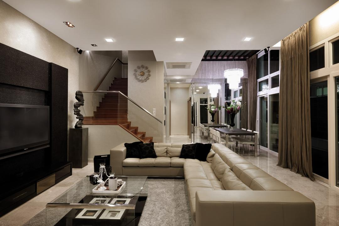 Coronation Road West, Space Vision Design, Traditional, Living Room, Landed, Sofa, Chair, Table, Coffee Table, Glass Table, Rug, Sculpture, Feature Wall, Full Length Windows, Hanging Light, Lighting, Pendant Light, Railing, Handrails, Marble Flooring, Couch, Furniture, Indoors, Interior Design
