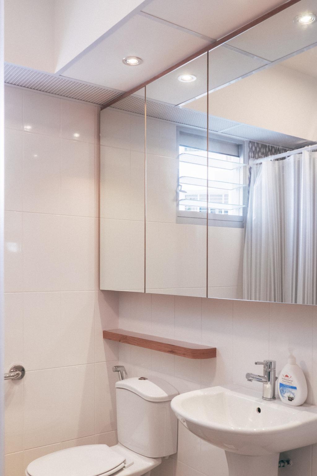 Scandinavian, HDB, Bathroom, Chai Chee (Block 808C), Interior Designer, Urban Habitat Design, White Bathroom, , Water Closet, Toilet Bowl, Pedestal Sink, Bathroom Sink, Mirror, Bathroom Cabinet, Light Colours