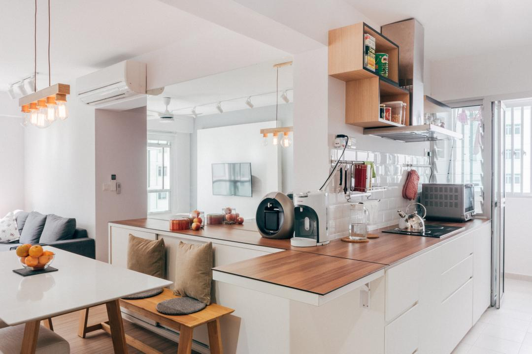 Chai Chee (Block 808C), Urban Habitat Design, Scandinavian, Kitchen, HDB, Kitchen Countertop, Kitchen Ledge, Kompacplus, Wood Countertop, Shelves, Shelving, Exhaust Hood, Kitchen Rack, White And Wood, Woody, Clean, Clean Colours, White Cabinet, All White, Dining Room, Indoors, Interior Design, Room, Dining Table, Furniture, Table, Couch