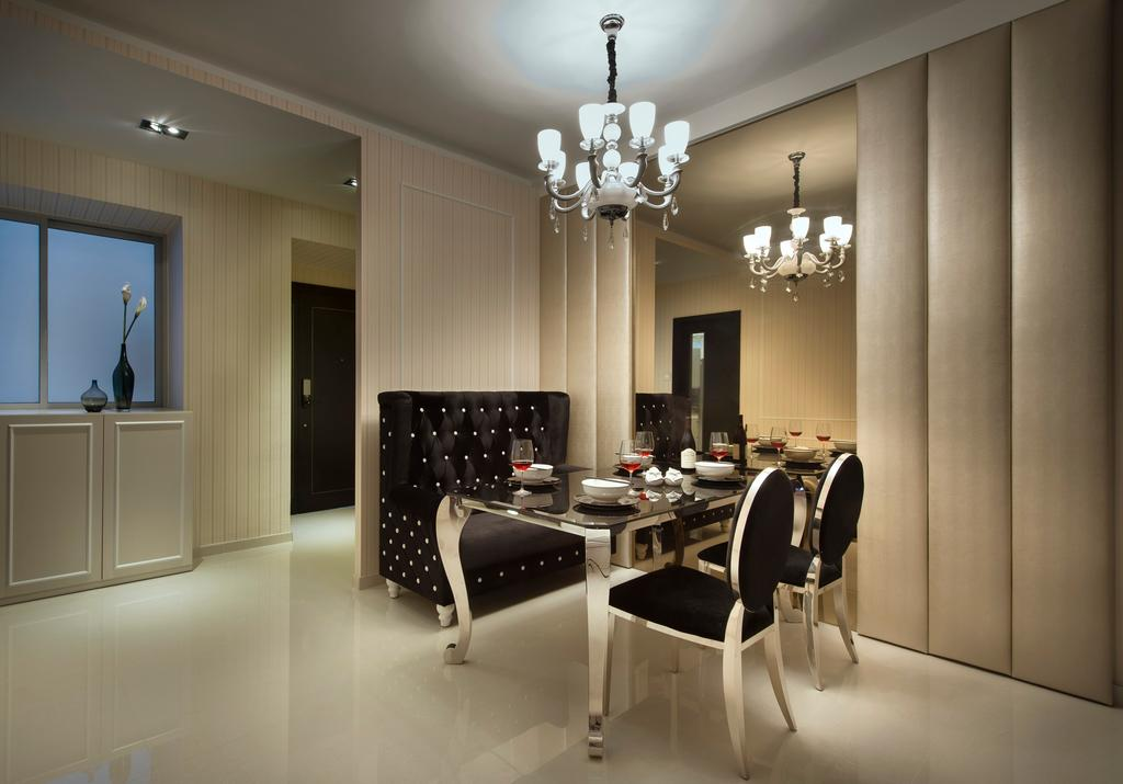 Modern, Condo, Dining Room, Park Green, Interior Designer, Space Vision Design, Wall Panels, Stripes, Stripe Wall, Mirror, Full Length Mirror, Hanging Light, Lighting, Pendant Light, Dining Table, Table, Chair, Padded Wall, Padded, Feature Wall, Cabinet, Storage, Sofa, Marble Tile, Marble Tiles, Beige, Neutral Tones, Indoors, Interior Design, Room, Furniture