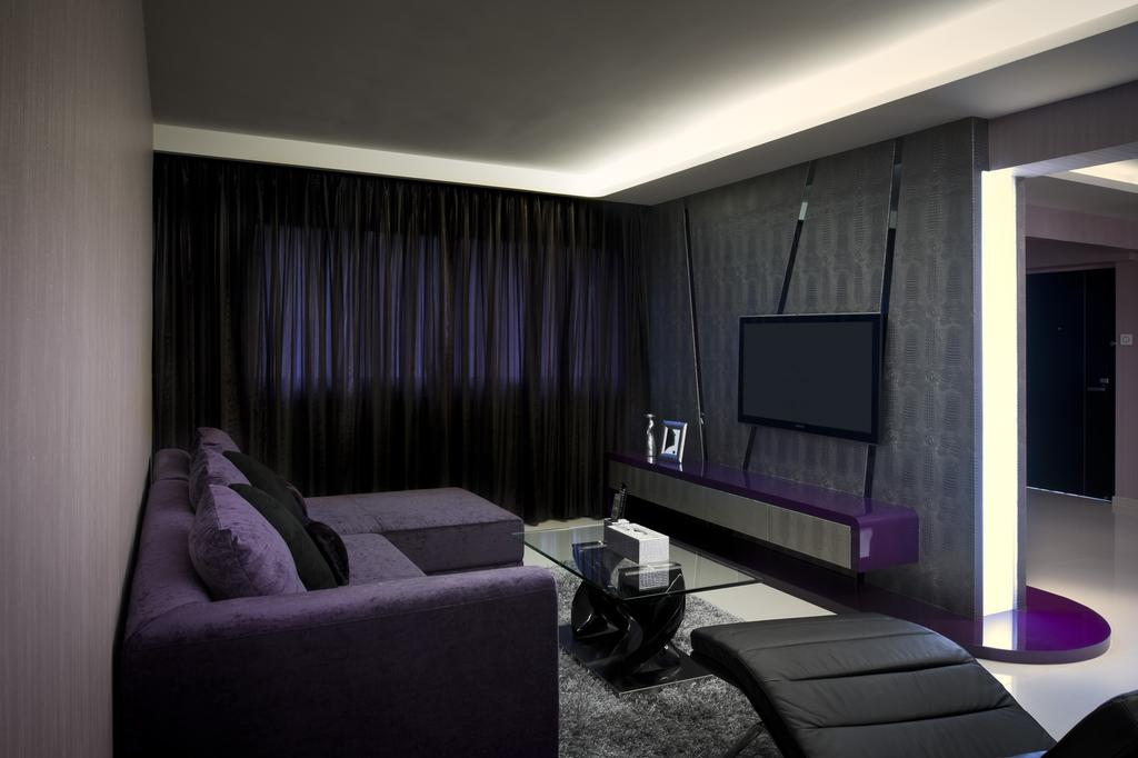 Modern, HDB, Living Room, Serangoon North Ave 4, Interior Designer, Space Vision Design, Curtains, Sofa, Purple, Wallpaper, Rug, Glass Table, Coffee Table, Table, Concealed Lighting, False Ceiling, Muted Tones, Chair, Furniture, Indoors, Room