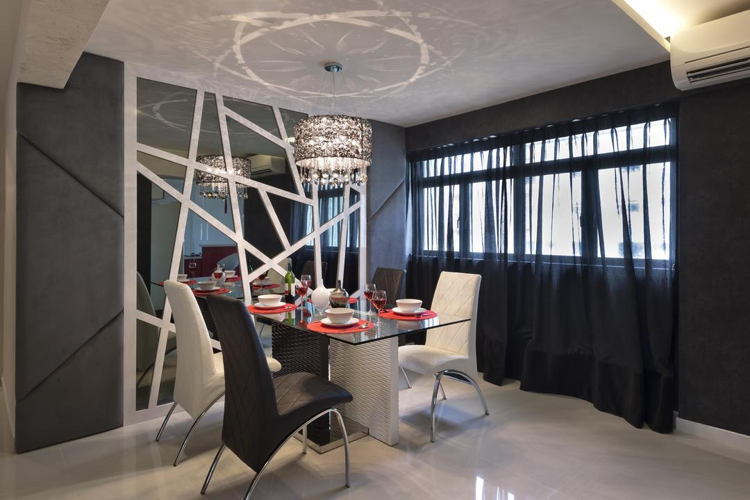Tampines Street 24, Space Vision Design, Modern, Dining Room, HDB, Mirror, Geometric, Curtains, Dining Table, Glass Table, Table, Chair, Padded Wall, Padded, Hanging Light, Pendant Light, Lighting, Gray, Monochrome, Furniture, Indoors, Interior Design, Room, Conference Room, Meeting Room