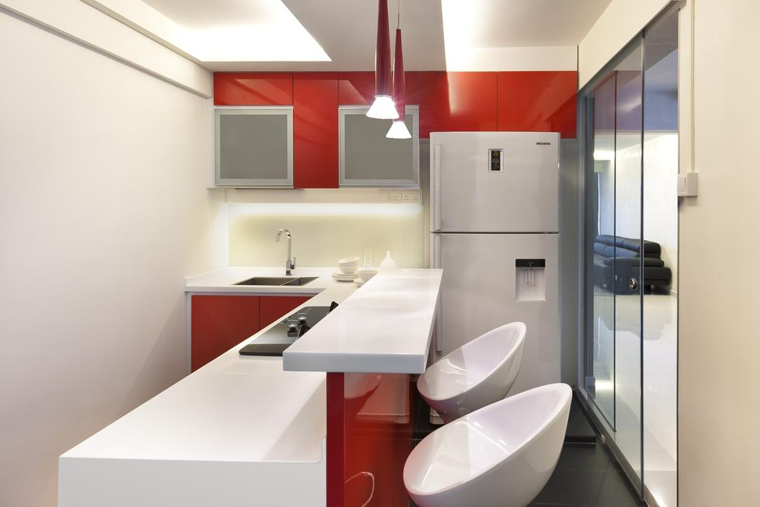 Tampines Street 24, Space Vision Design, Modern, Kitchen, HDB, Barstools, Bar Counter, Kitchen Counter, Hanging Light, Pendant Light, Lighting, Glass Sliding Doors, Red, White, Cabinet, Chair, Sink, Bathroom, Indoors, Interior Design, Room