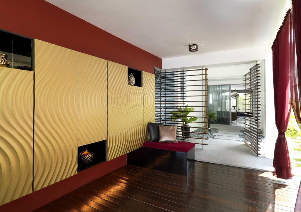 Modern, Landed, Meng Suan, Interior Designer, Space Vision Design, Display Shelf, Plank Flooring, Parquet, Feature Wall, Gold, Red, Grills, Curtains, Ornaments, Indoors, Interior Design, Balcony
