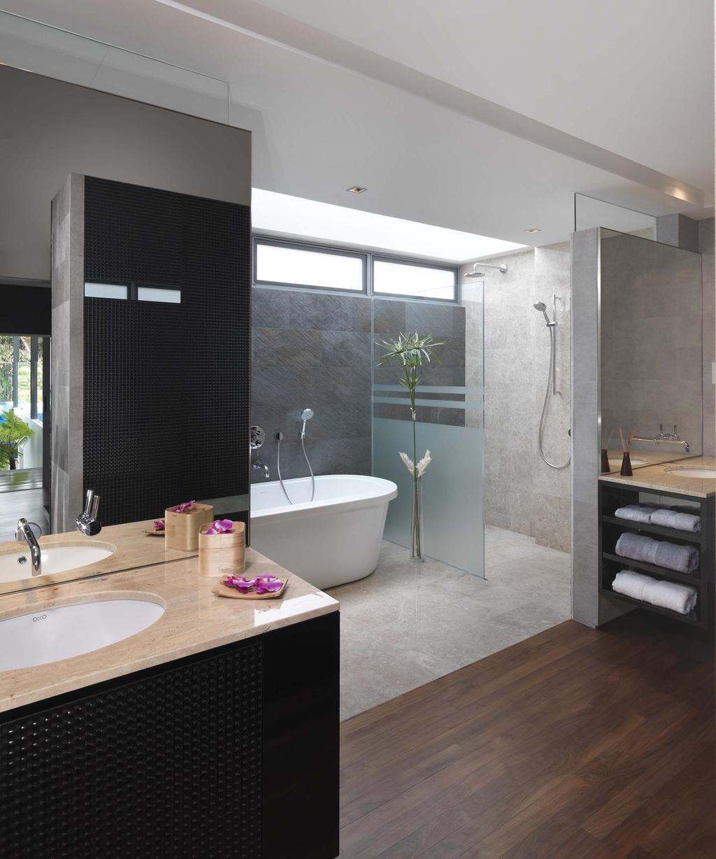 Modern, Landed, Bathroom, Meng Suan, Interior Designer, Space Vision Design, Bathtub, Glass Cubicle, Rain Shower, Mirror, Bathroom Counter, Parquet, Tile, Tiles, Indoors, Interior Design, Room