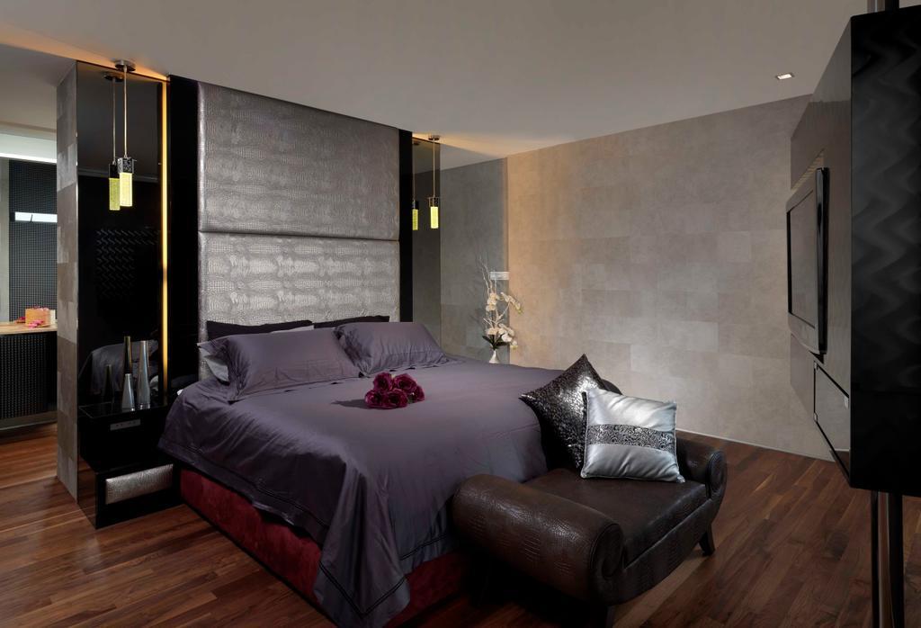 Modern, Landed, Bedroom, Meng Suan, Interior Designer, Space Vision Design, Master Bedroom, Foot Rest, Footstool, Parquet, Padded, Headboard, Hanging Light, Lighting, Pendant Lighting, Tile, Tiles, Leather, Couch, Furniture, Chair