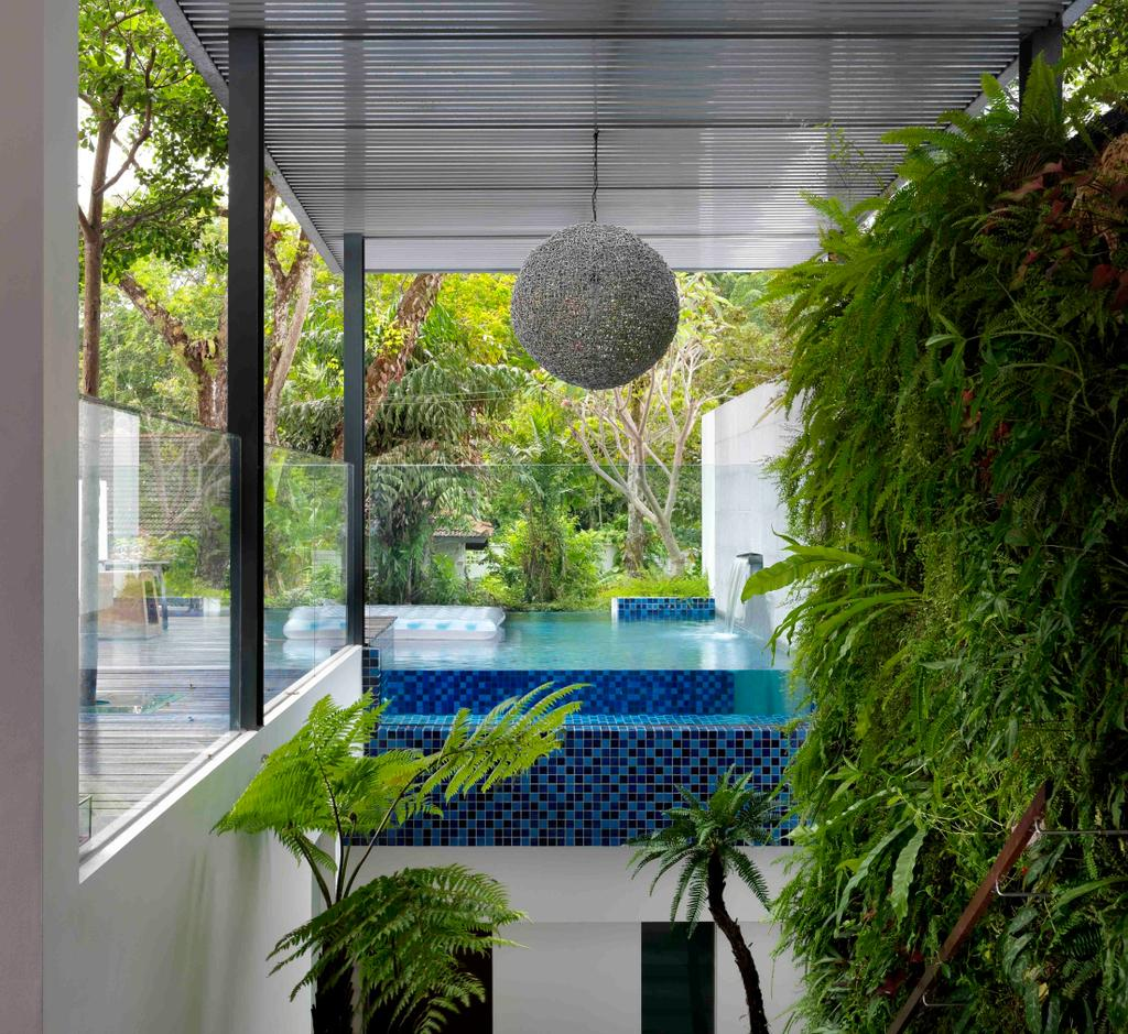 Modern, Landed, Meng Suan, Interior Designer, Space Vision Design, Plants, Outdoors, Swimming Pool, Glass Railing, Railing, Balustrade, Glass Balustrade, Columns, Awning, Mosaic, Mosaic Tiles, Mobile Sculpture, Flora, Jar, Plant, Potted Plant, Pottery, Vase, Pool, Water