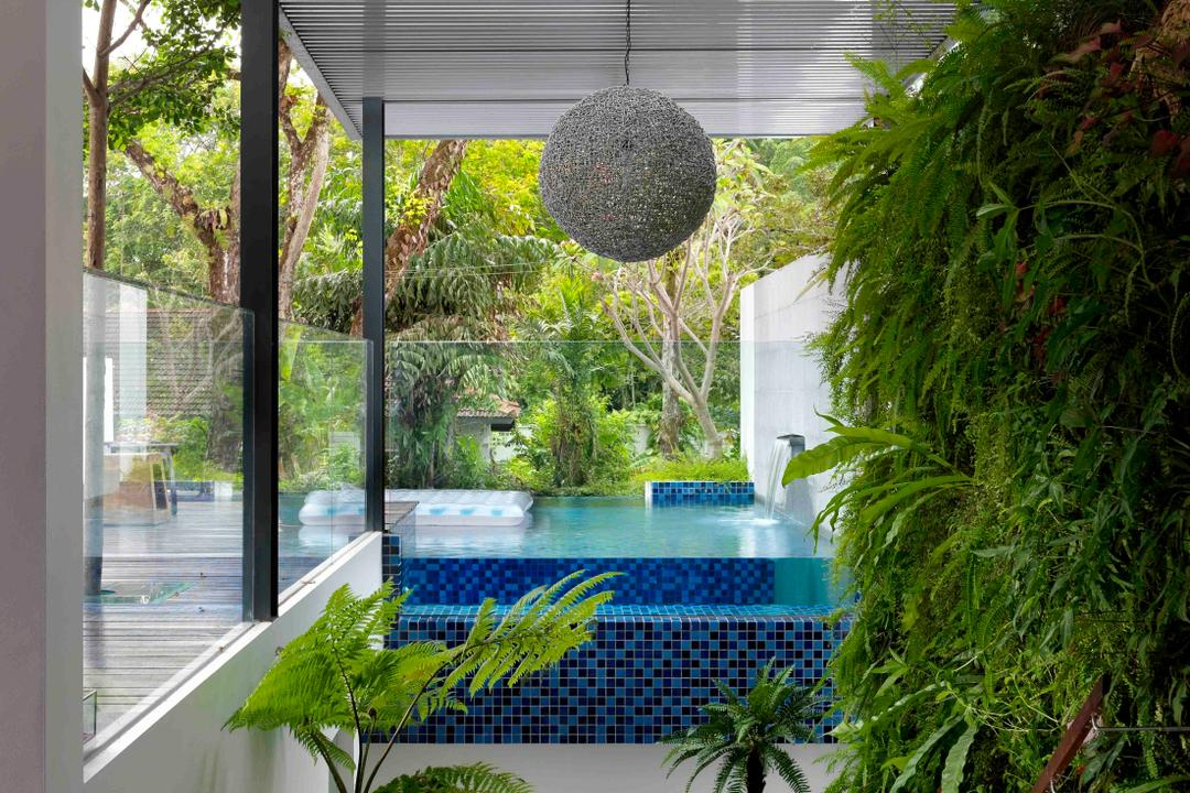 Meng Suan, Space Vision Design, Modern, Landed, Plants, Outdoors, Swimming Pool, Glass Railing, Railing, Balustrade, Glass Balustrade, Columns, Awning, Mosaic, Mosaic Tiles, Mobile Sculpture, Flora, Jar, Plant, Potted Plant, Pottery, Vase, Pool, Water