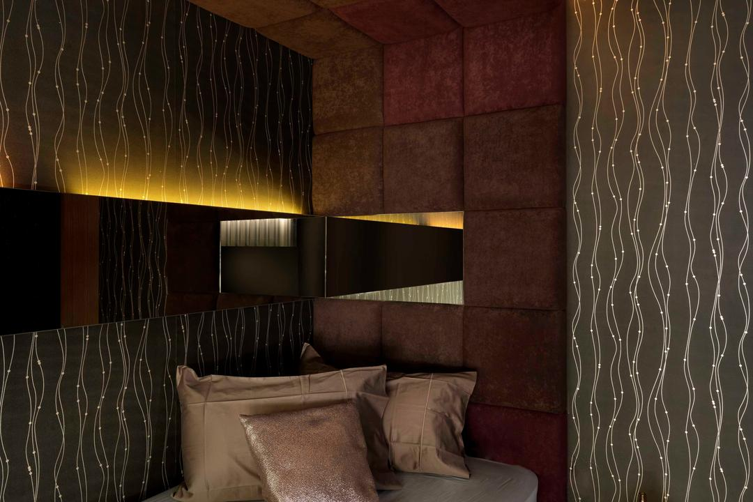 Meng Suan, Space Vision Design, Modern, Bedroom, Landed, Wallpaper, Padded, Concealed Lighting, Mirror, Muted Tones, False Ceiling, Headboard, Side Table, Night Stand, Couch, Furniture