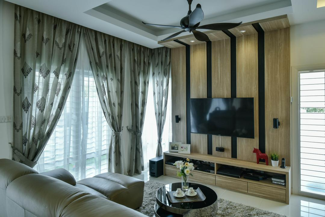 Sunway Alam Suria, Surface R Sdn. Bhd., Traditional, Living Room, Landed, False Ceiling, Ceiling Fan, Feature Wall, Stripes, Striped Pattern, Tv, Tv Console, Tv Cabinet, Curtains, Curtain, Home Decor, Electronics, Entertainment Center, Home Theater