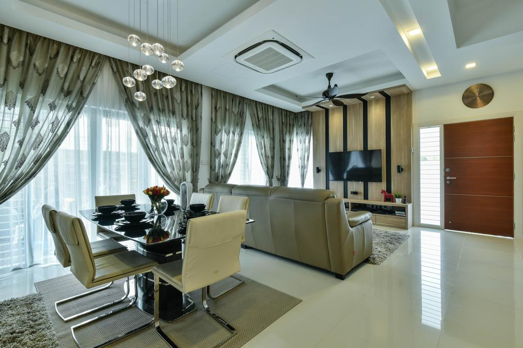 Traditional, Landed, Dining Room, Sunway Alam Suria, Interior Designer, Surface R Sdn. Bhd., Dining Table, Dining Chairs, Chairs, Pendant Lamp, Hanging Lamp, Door, Entrance, Wall Clock, Clock, Chair, Furniture, Couch, Table, Indoors, Interior Design