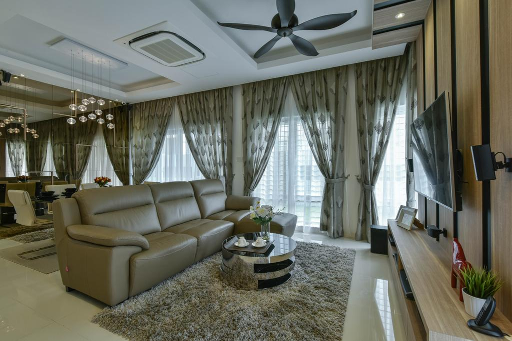 Traditional, Landed, Living Room, Sunway Alam Suria, Interior Designer, Surface R Sdn. Bhd., Sofa, Couch, Leather Sofa, Coffee Table, Carpet, Curtains, Ceiling Fan, Black Ceiling Fan, Aircon, Ceiling Cassette, Flora, Jar, Plant, Potted Plant, Pottery, Vase, Indoors, Interior Design, Furniture, Table