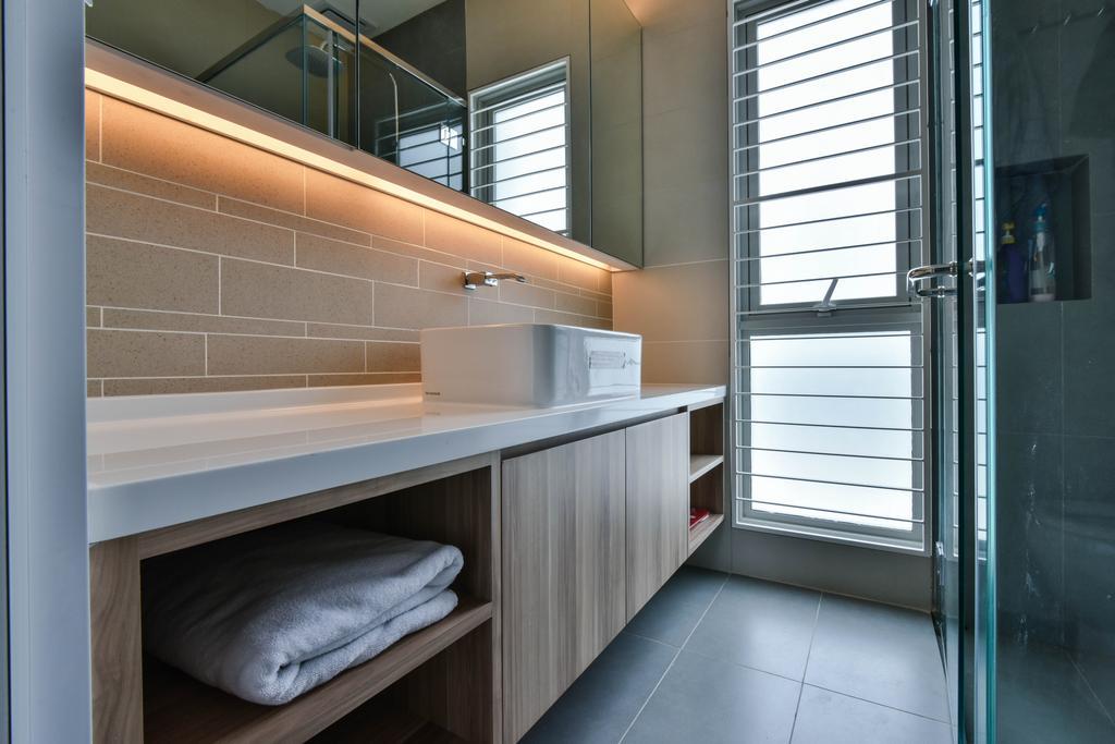 Traditional, Landed, Bathroom, Sunway Alam Suria, Interior Designer, Surface R Sdn. Bhd., Bathroom Vanity, Bathroom Cabinet, Mirror, Under Cabinet Lighting, Sink, Kitchen Sink