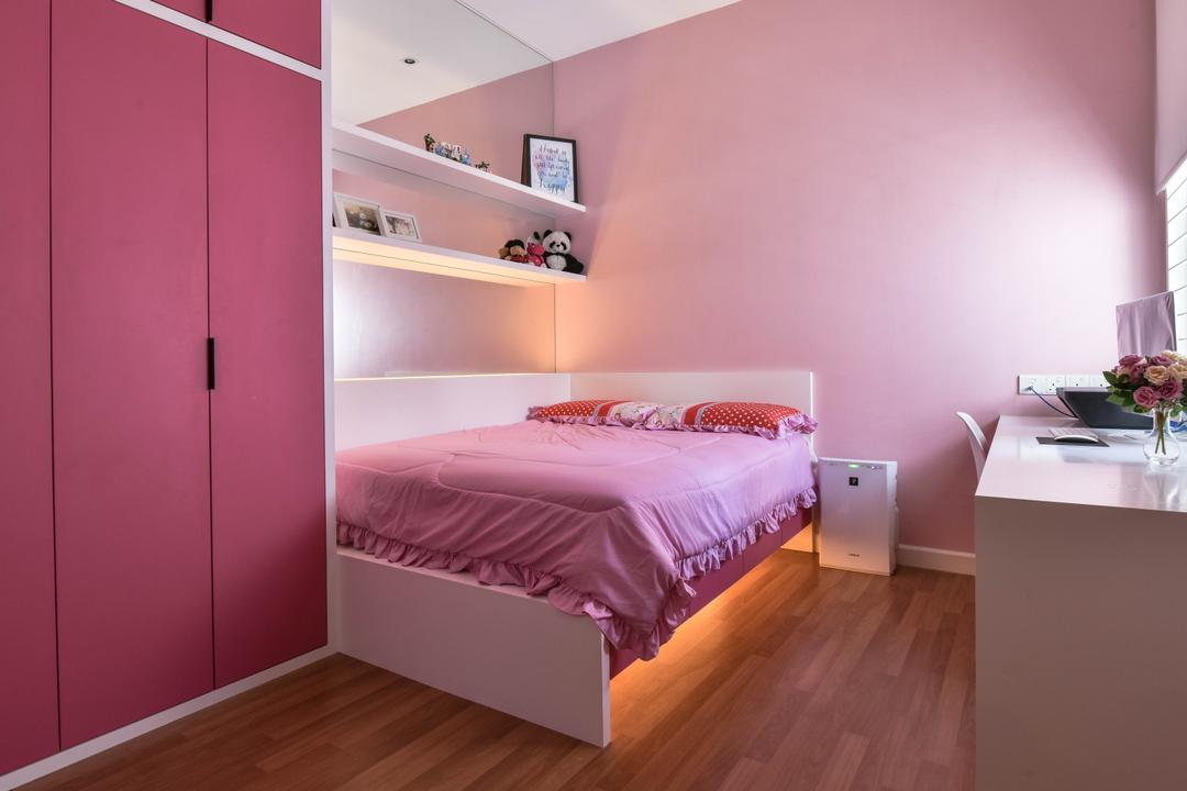 Sunway Alam Suria, Surface R Sdn. Bhd., Traditional, Bedroom, Landed, Pink, Pink Bedroom, Girls Room, Girly, Wardrobe, Wall Shelf, Shelves, Pink Wall, Bed, Furniture