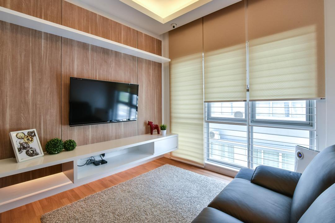 Sunway Alam Suria, Surface R Sdn. Bhd., Traditional, Living Room, Landed, Feature Wall, Wall Shelf, Shelves, Brown, Wood, Floating Console, Tv Console, Roller Blinds, Blinds, Carpet, Book, Indoors, Interior Design