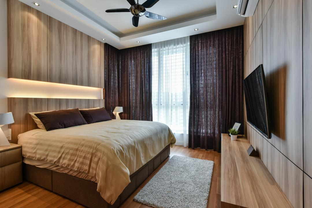 Sunway Alam Suria, Surface R Sdn. Bhd., Traditional, Bedroom, Landed, Cabinet, Cabinetry, Brown, Feature Wall, Curtains, Ceiling Fan, False Ceiling, Wood, Flooring, Indoors, Interior Design, Room, Bed, Furniture