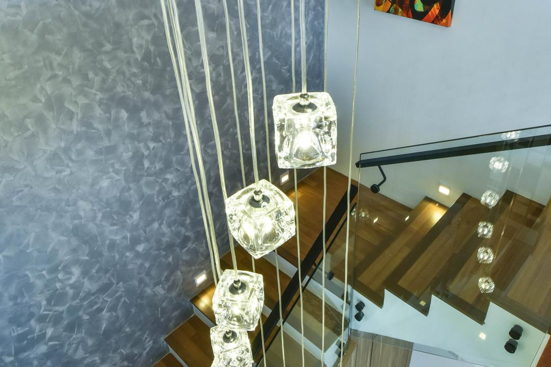 Sunway Alam Suria, Surface R Sdn. Bhd., Traditional, Living Room, Landed, Pendant Lamp, Hanging Lamp, Crystal Lights, Staircase,
