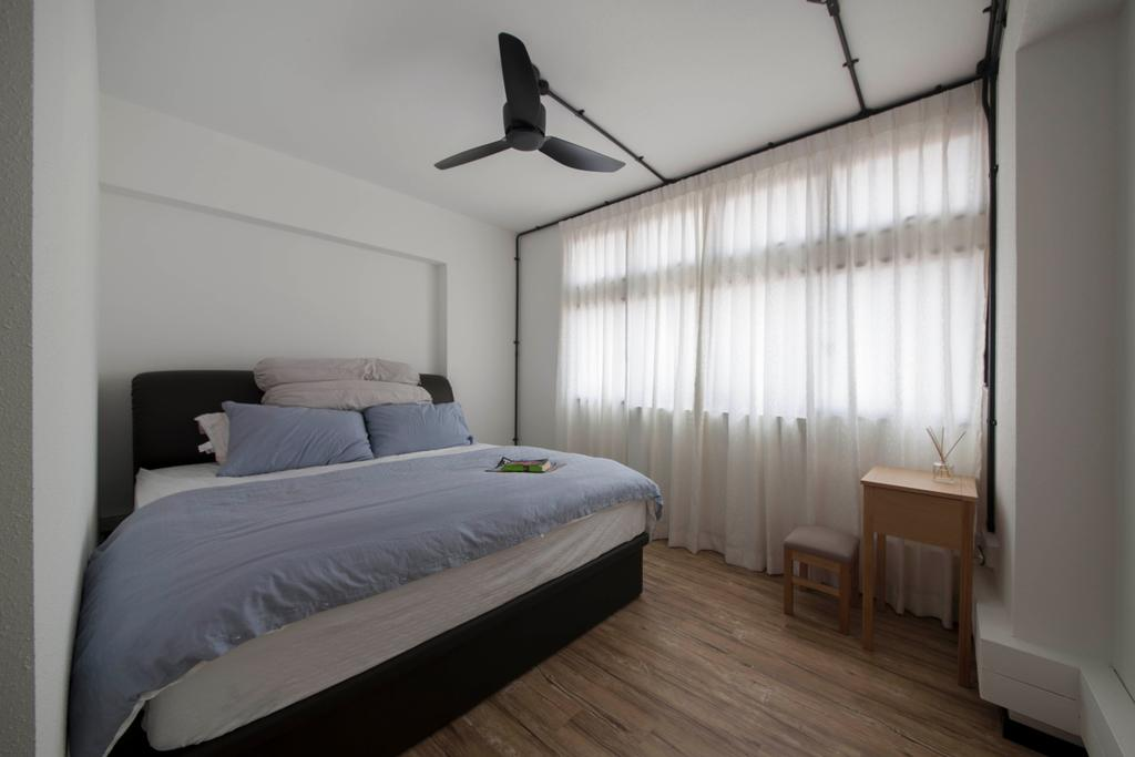 Minimalistic, HDB, Bedroom, Clarence Lane (Block 130), Interior Designer, Voila, Curtains, Airy Curtains, Tracklight, Simple, Minimalist, Side Table, Dresser, Wooden Side Table, Big Bed, Master Bedroom, Bed, Furniture, Indoors, Interior Design, Room, Propeller