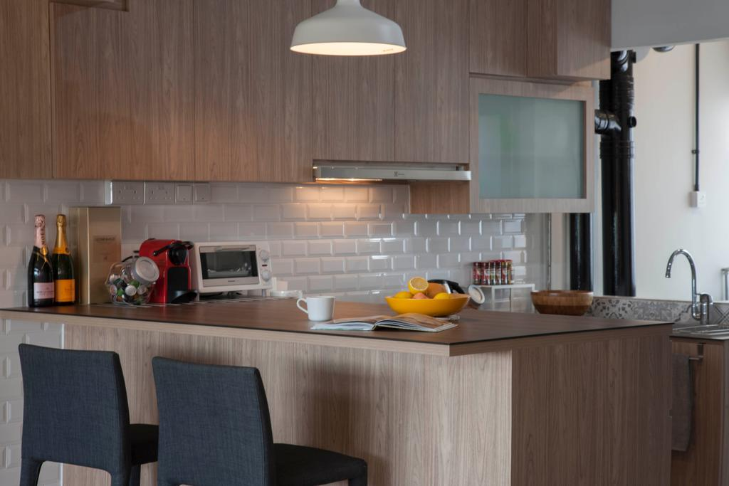 Minimalistic, HDB, Kitchen, Clarence Lane (Block 130), Interior Designer, Voila, Kitchen Peninsula, Kitchen Counter, Breakfast Table, High Chairs, Wood Accents, Laminate, Open Concept, Small Kitchen, Breakfast Counter, Indoors, Interior Design, Room, Dining Table, Furniture, Table, Couch