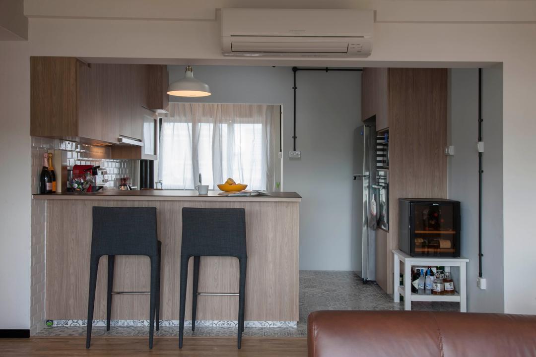 Clarence Lane (Block 130), Voila, Minimalist, Kitchen, HDB, Open Concept, Open Layout, Open Kitchen, High Chairs, Kitchen Peninsula, Wood Accents, Laminate, Chair, Furniture, Electronics, Entertainment Center
