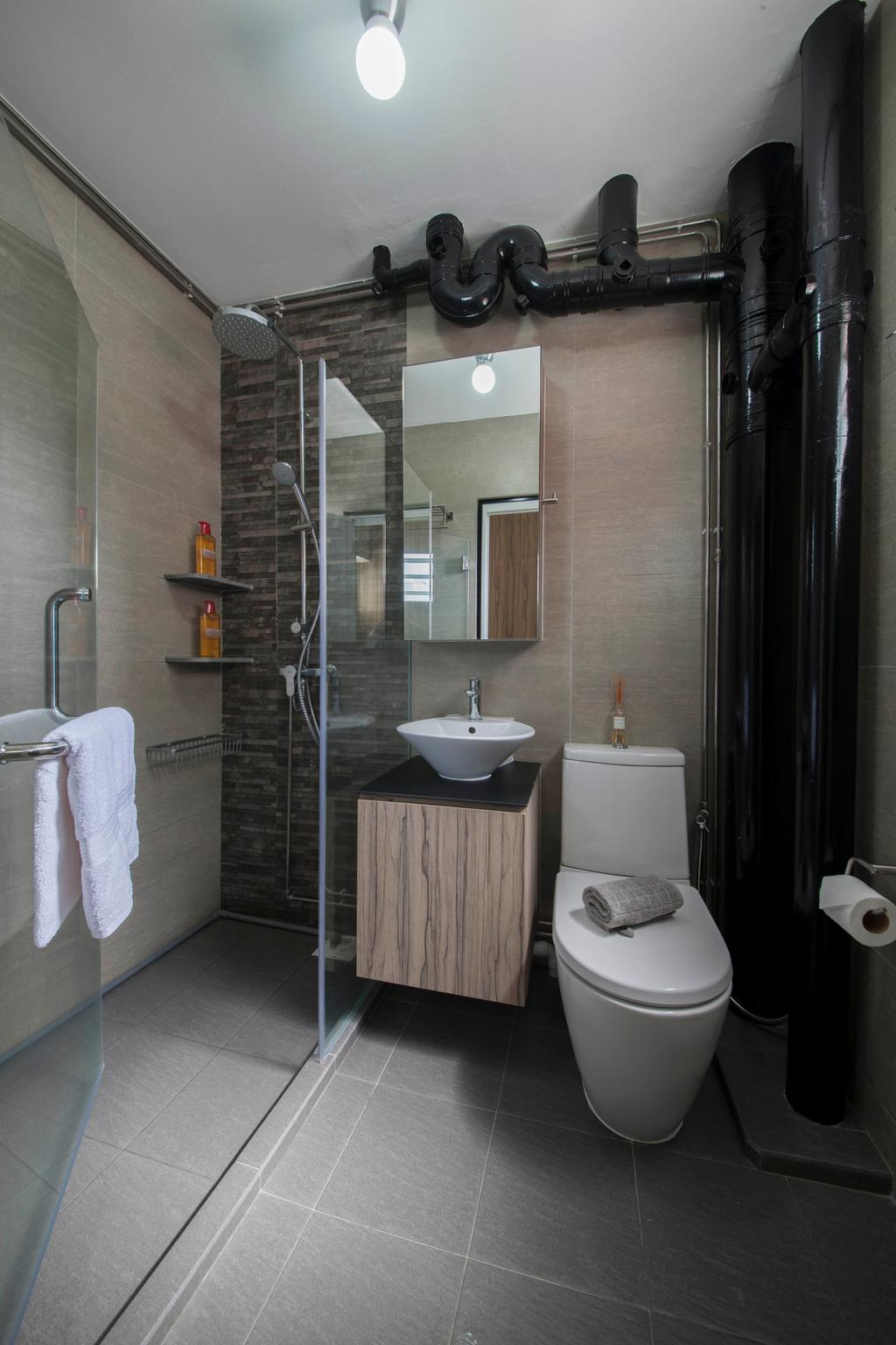 Minimalistic, HDB, Bathroom, Clarence Lane (Block 130), Interior Designer, Voila, Black Pipe, Dark Brown, Brown Tiles, Water Closet, Glass Door, Shower Cubicle, Towel, Toilet, Indoors, Interior Design, Room
