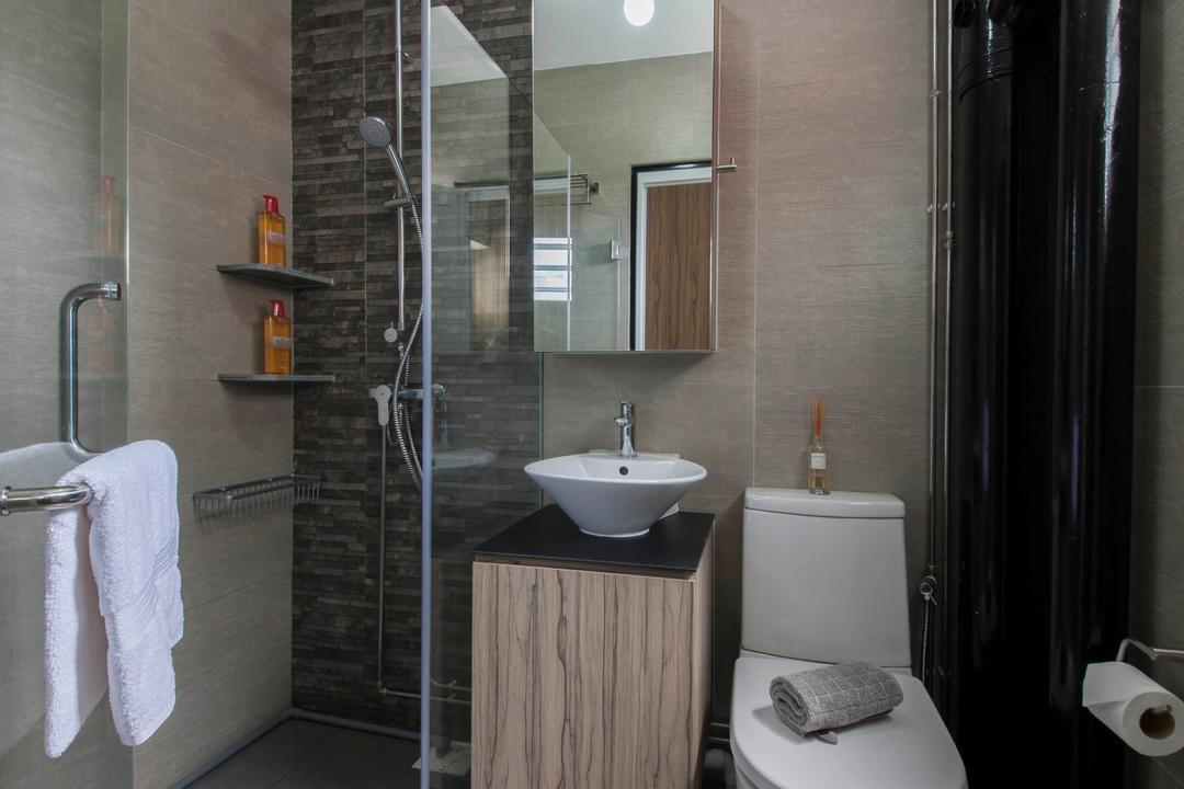 Clarence Lane (Block 130), Voila, Minimalist, Bathroom, HDB, Black Pipe, Dark Brown, Brown Tiles, Water Closet, Glass Door, Shower Cubicle, Towel, Toilet, Indoors, Interior Design, Room