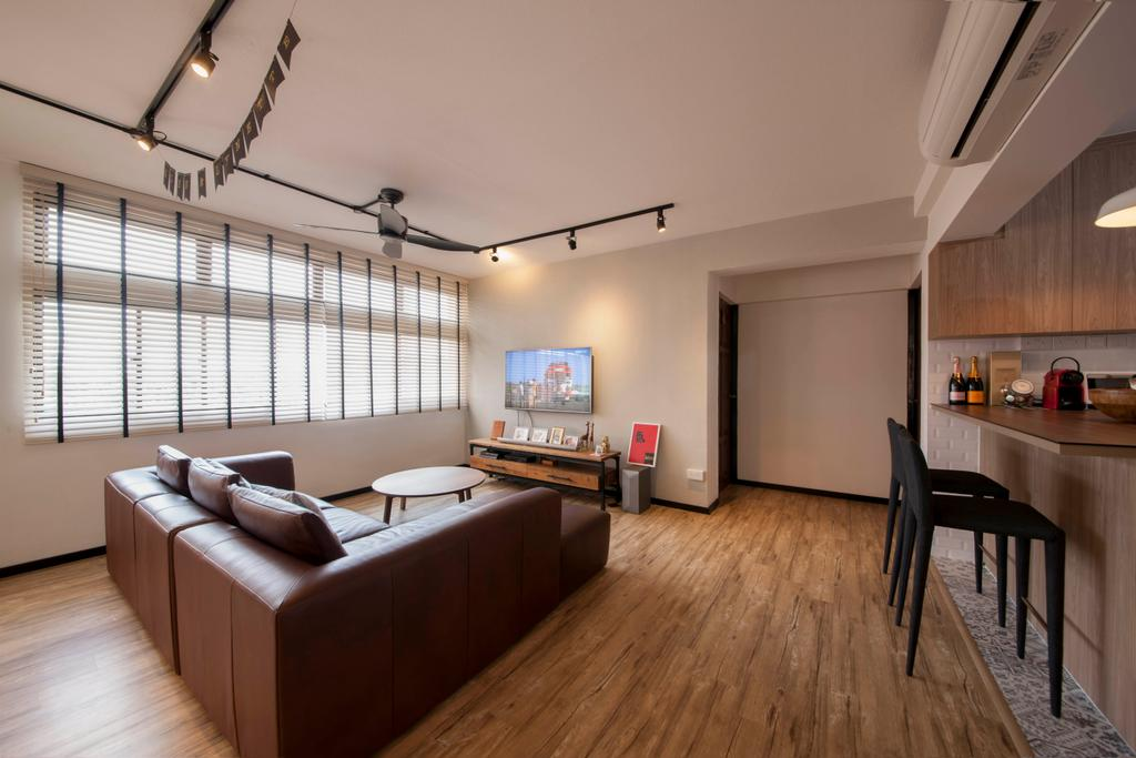 Minimalistic, HDB, Living Room, Clarence Lane (Block 130), Interior Designer, Voila, Wood Flooring, Vinyl, Leather Sofa, 3 Seater, Venetian Blinds, Track Lights, Ceiling Fan, Spacious, Airy, Woody, Heavy Wood Accents, Wood Accents, Walkway, Corridor, Flooring, Couch, Furniture, Chair