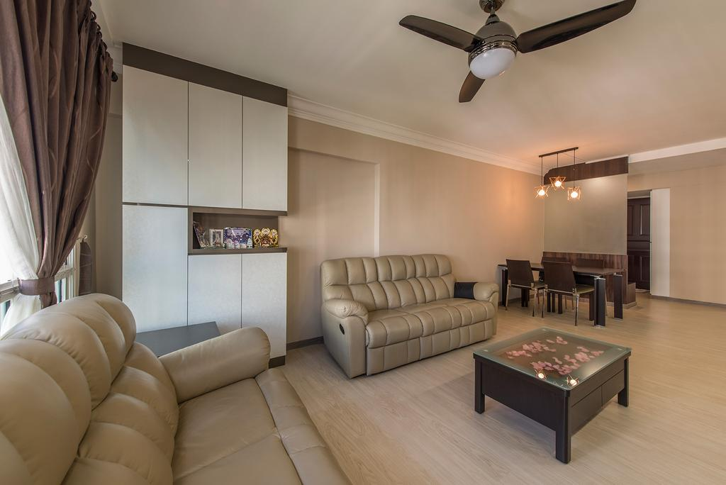 Traditional, HDB, Living Room, Bukit Batok Central, Interior Designer, Ace Space Design, Sofa, Leather Sofa, Coffee Table, Wood Floor, Wooden Flooring, Light Wood Floor, Ceiling Fan With Lamp, Cabinetry, Cabinet, Couch, Furniture, Table, Indoors, Room