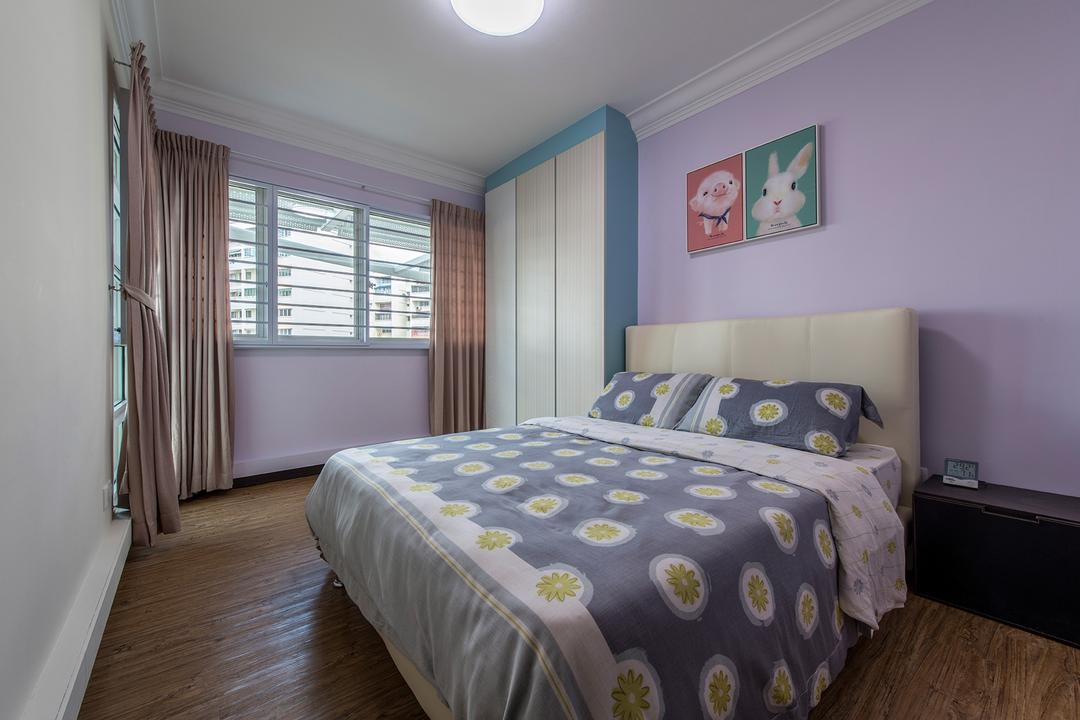 Bukit Batok Central, Ace Space Design, Traditional, Bedroom, HDB, Floral, Floral Bedsheet, Painting, Cute, Wall Decor, Headboard, Purple, Purple Walls, Curtains, Bed, Furniture, Indoors, Interior Design, Room