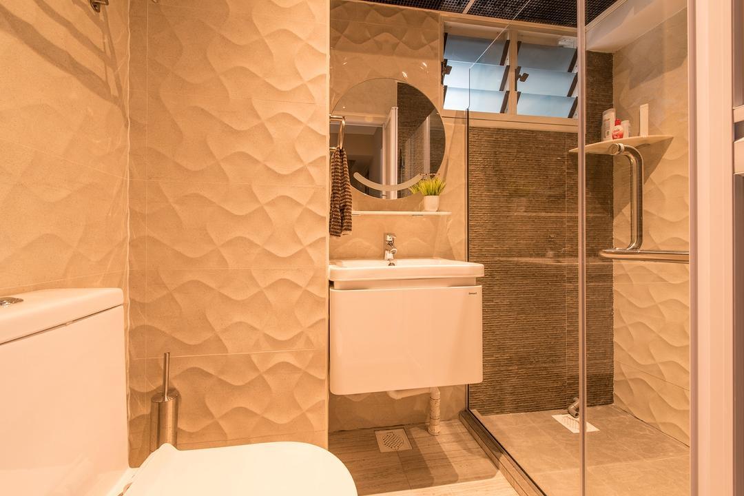 Bukit Batok Central, Ace Space Design, Traditional, Bathroom, HDB, Mirror, Bathroom Vanity, Bathroom Sink, Sink, Round Mirror, Bathroom Tiles, Warm Lights, Shower Screen, Indoors, Interior Design, Room