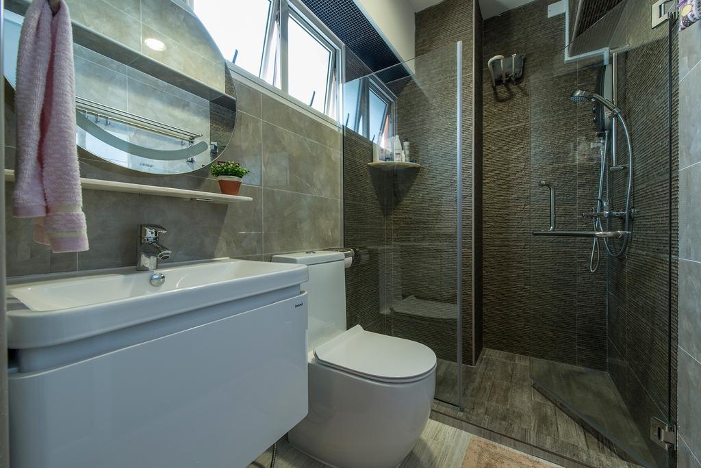 Traditional, HDB, Bathroom, Bukit Batok Central, Interior Designer, Ace Space Design, Bathroom Vanity, Bathroom Sink, Sink, Mirror, Round Mirror, Toilet Bowl, Water Closet, Shower Screen, Bathroom Tiles, Toilet, Brick, Indoors, Interior Design, Room