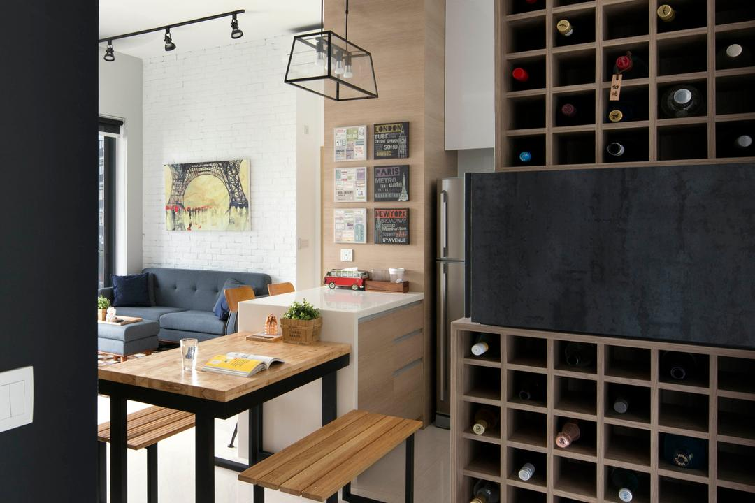 Boathouse Residences, Prozfile Design, Industrial, Dining Room, Condo, Storage, Wine Storage, Wine Rack, Wine Cabinet, Dining Table, Furniture, Table, Banister, Handrail, Indoors, Interior Design, Room, HDB, Building, Housing