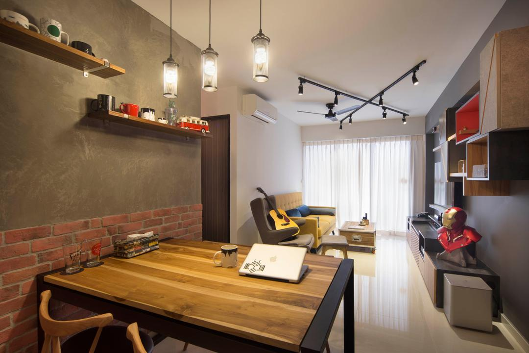 Bedok Reservoir (Block 748A), Prozfile Design, Industrial, Eclectic, Dining Room, HDB, Dining Table, Wood, Pendant Lamp, Hanging Lamp, Cement Screed, Wall Shelves, Floating Shelves, Track Lights, Sink, Indoors, Interior Design, Room, Furniture, Table, Flooring
