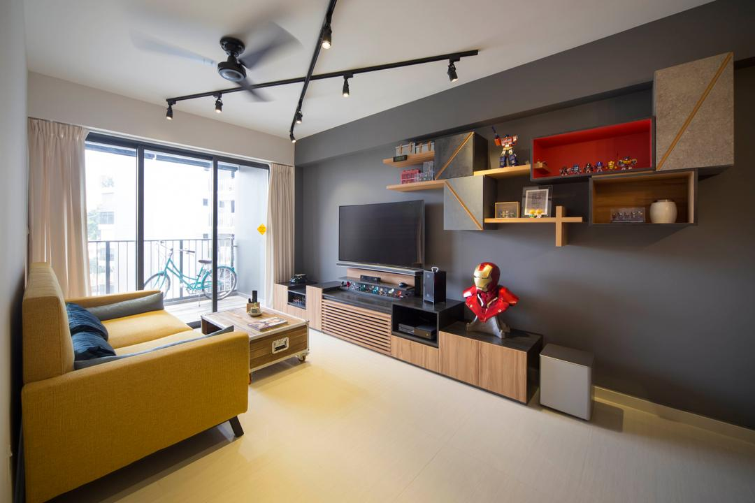Bedok Reservoir (Block 748A), Prozfile Design, Industrial, Eclectic, Living Room, HDB, Track Lights, Track Lighting, Shelves, Wall Shelf, Floating Shelves, Display, Collectibles, Superhero, Iron Man, Tv Cabinet, Tv Console, Loveseat, Sofa, Coffee Table, Yellow, , Desk, Furniture, Table