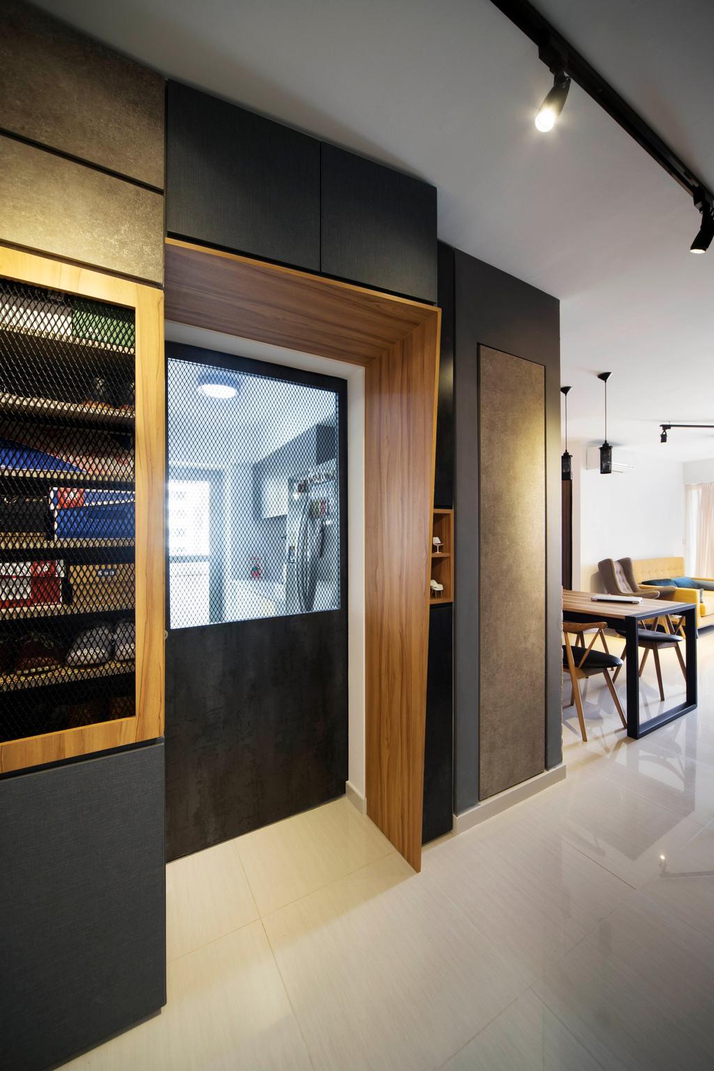 Industrial, HDB, Kitchen, Bedok Reservoir (Block 748A), Interior Designer, Prozfile Design, Eclectic, Wire Mesh Cabinet Door, Cabinetry, Bomb Shelter, Kitchen Door, Chair, Furniture