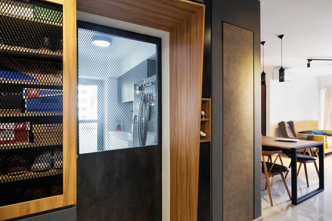 Bedok Reservoir (Block 748A), Prozfile Design, Industrial, Eclectic, Kitchen, HDB, Wire Mesh Cabinet Door, Cabinetry, Bomb Shelter, Kitchen Door, Chair, Furniture