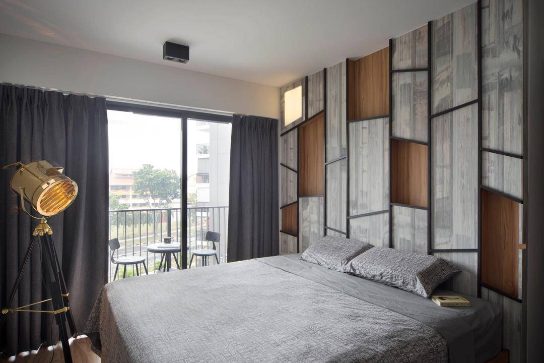 Bedok Reservoir (Block 748A), Prozfile Design, Industrial, Eclectic, Bedroom, HDB, Feature Wall, Raw, Grey, Grey Walls, Curtains, Dark Coloured Room, , Standing Lamp, Floor Lamp, Spotlight Floor Lamp, Indoors, Interior Design, Room, Bed, Furniture