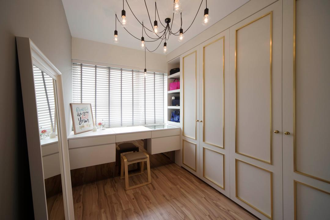 Bedok Reservoir (Block 747A), Prozfile Design, Scandinavian, Bedroom, HDB, Wardrobe, Wainscoting, White Wardrobe, Closet, Warm Lights, Blinds, Dressing Table, Accessories, Accessories Storage, Handbag Storage, Industrial Lighting, Flooring, Dining Table, Furniture, Table, Banister, Handrail