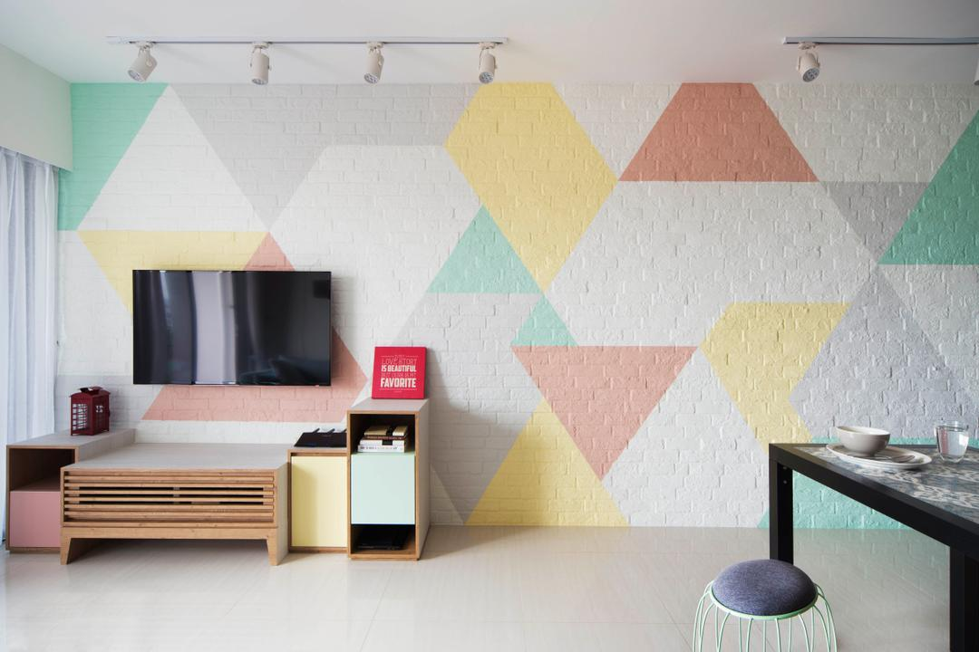Bedok Reservoir (Block 747A), Prozfile Design, Scandinavian, Living Room, HDB, Colourful, Colours, Colourful Wall, Track Lights, White Track Lights, Vibrant, Cute, Tv Console, Tv Cabinet, Kids, Kid Friendly, Triangle, Geometric, Pastel Colours, Art, Modern Art, Indoors, Interior Design, Furniture