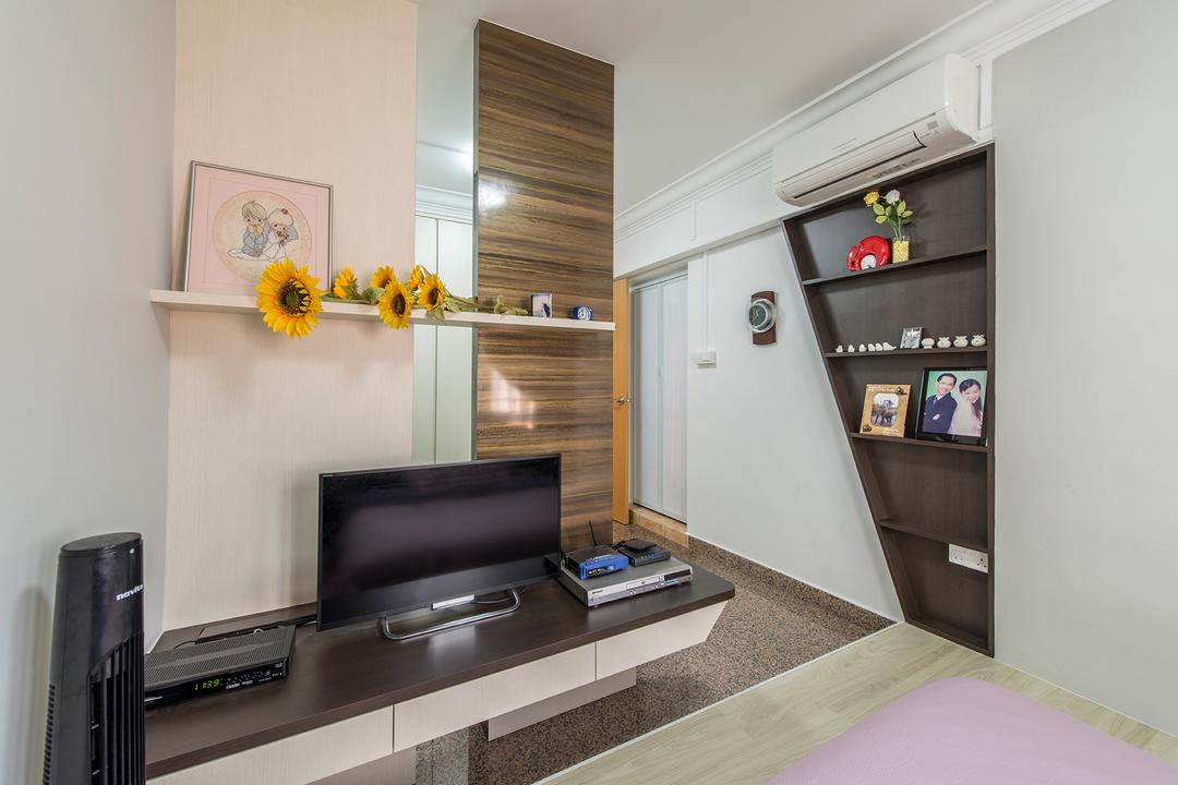 Corporation Drive (Block 349), Alpina Woody, Contemporary, Bedroom, HDB, Computer Desk, Desktop, Wall Shelf, Shelving, Painting, Flowers, Plant Decor, Shelves, Aircon, Photo Frame