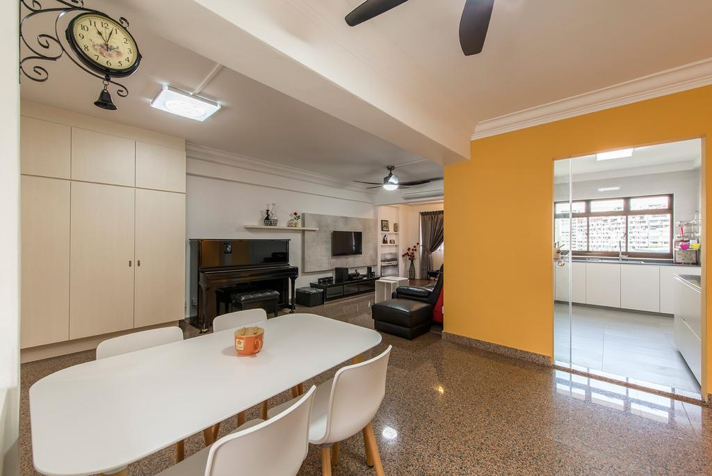 Contemporary, HDB, Dining Room, Corporation Drive (Block 349), Interior Designer, Alpina Woody, Dining Table, Chairs, White Table, White Furniture, Yellow Walls, Walls, Cabinetry