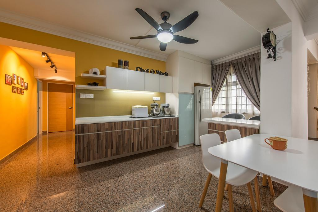 Contemporary, HDB, Dining Room, Corporation Drive (Block 349), Interior Designer, Alpina Woody, Ceiling Fan With Lamp, , Yellow Walls, Cabinetry, Kitchen Cabinet, Wall Laminates, Dining Table, Dining Chairs, Eames Chair, White Furniture