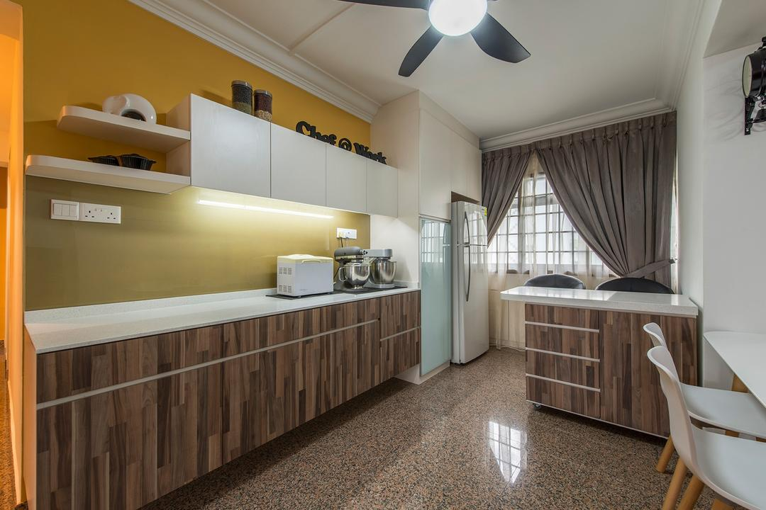 Corporation Drive (Block 349), Alpina Woody, Contemporary, Dining Room, HDB, Kitchen Cabinet, Cabinetry, Kitchen Laminates, Dark Brown, Under Cabinet Lighting, Yellow, Yellow Walls, Shelving, Shelves, Curtains, Refrigerator